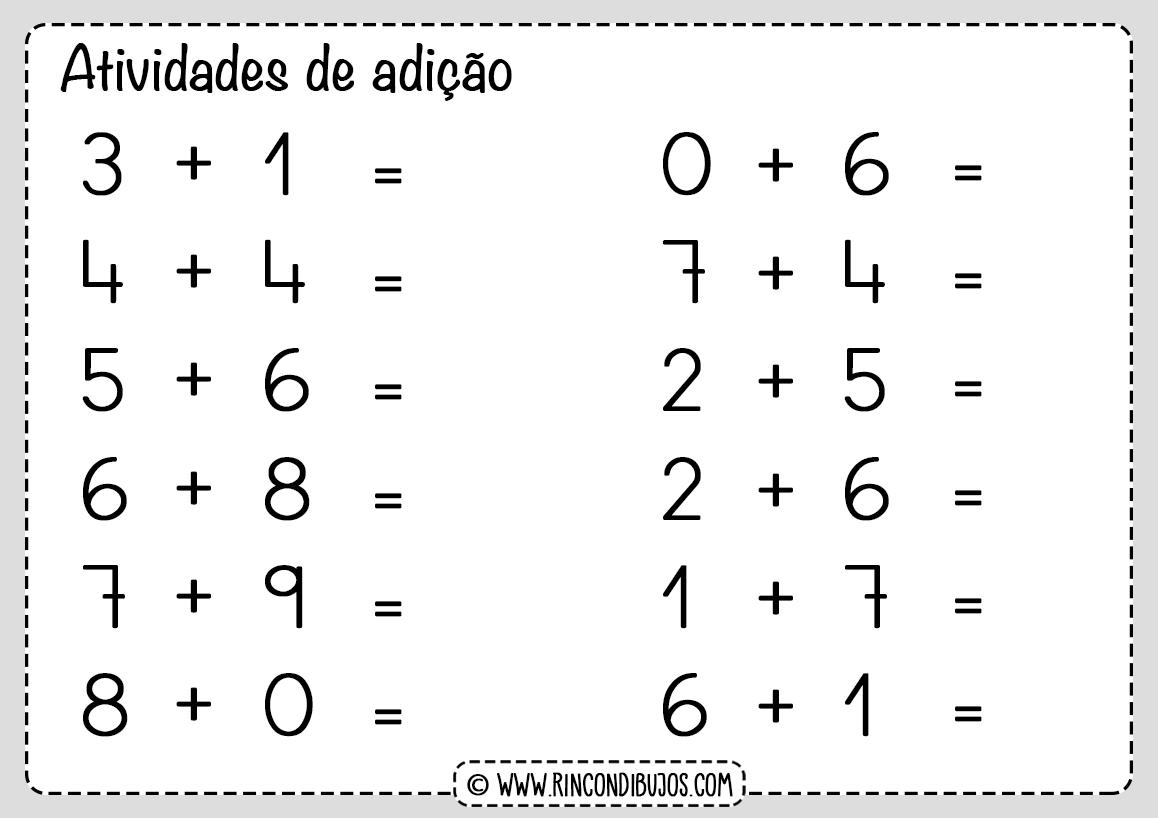 Atividades de matematica adição