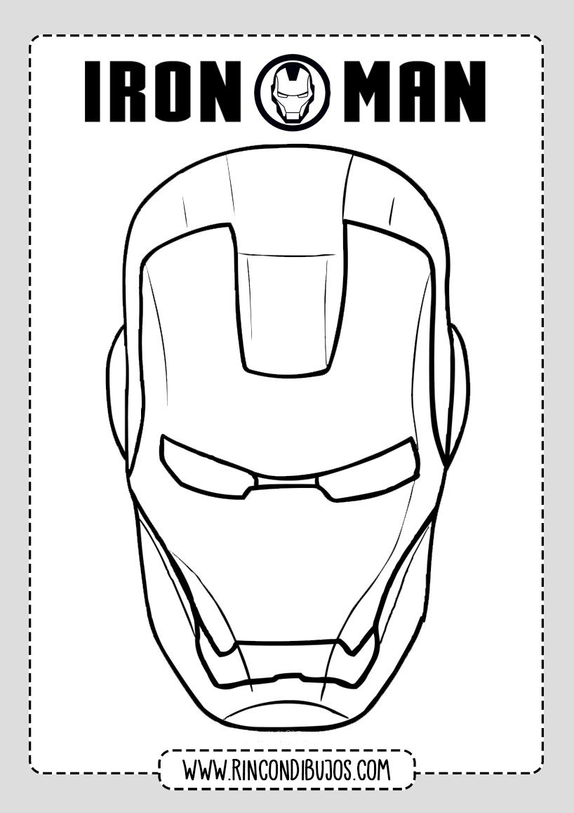 Dibujo Colorear Cabeza de Iron Man