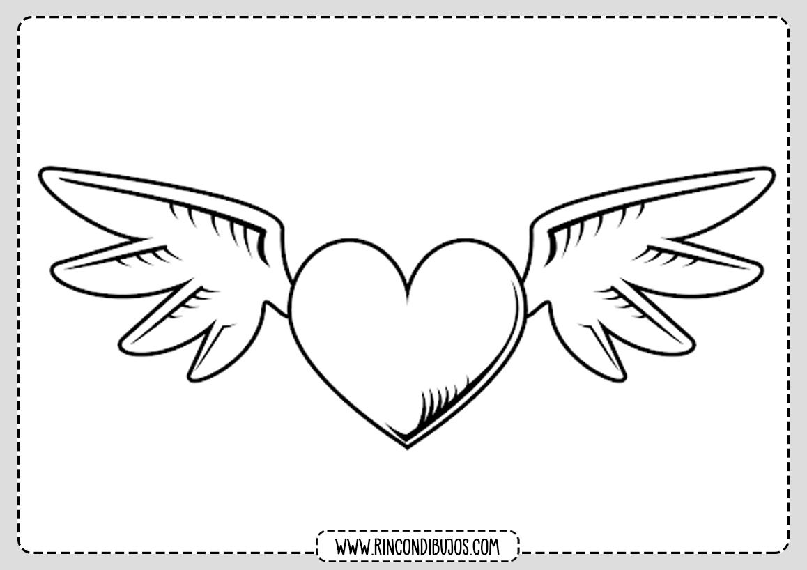 Dibujo Corazon Con Alas Colorear