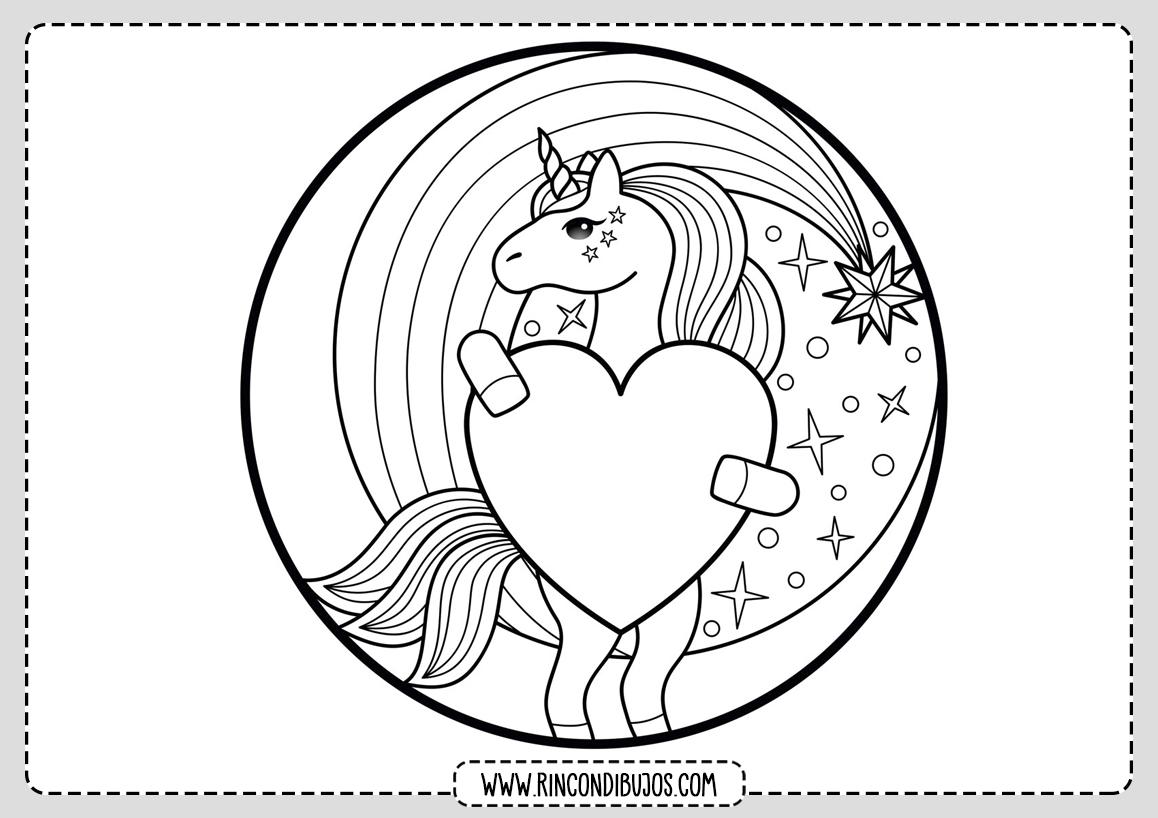 Dibujo Corazon Unicornio Colorear