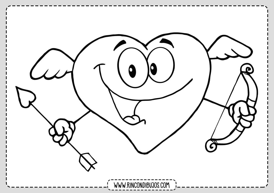 Dibujo Corazon con Cara para Colorear