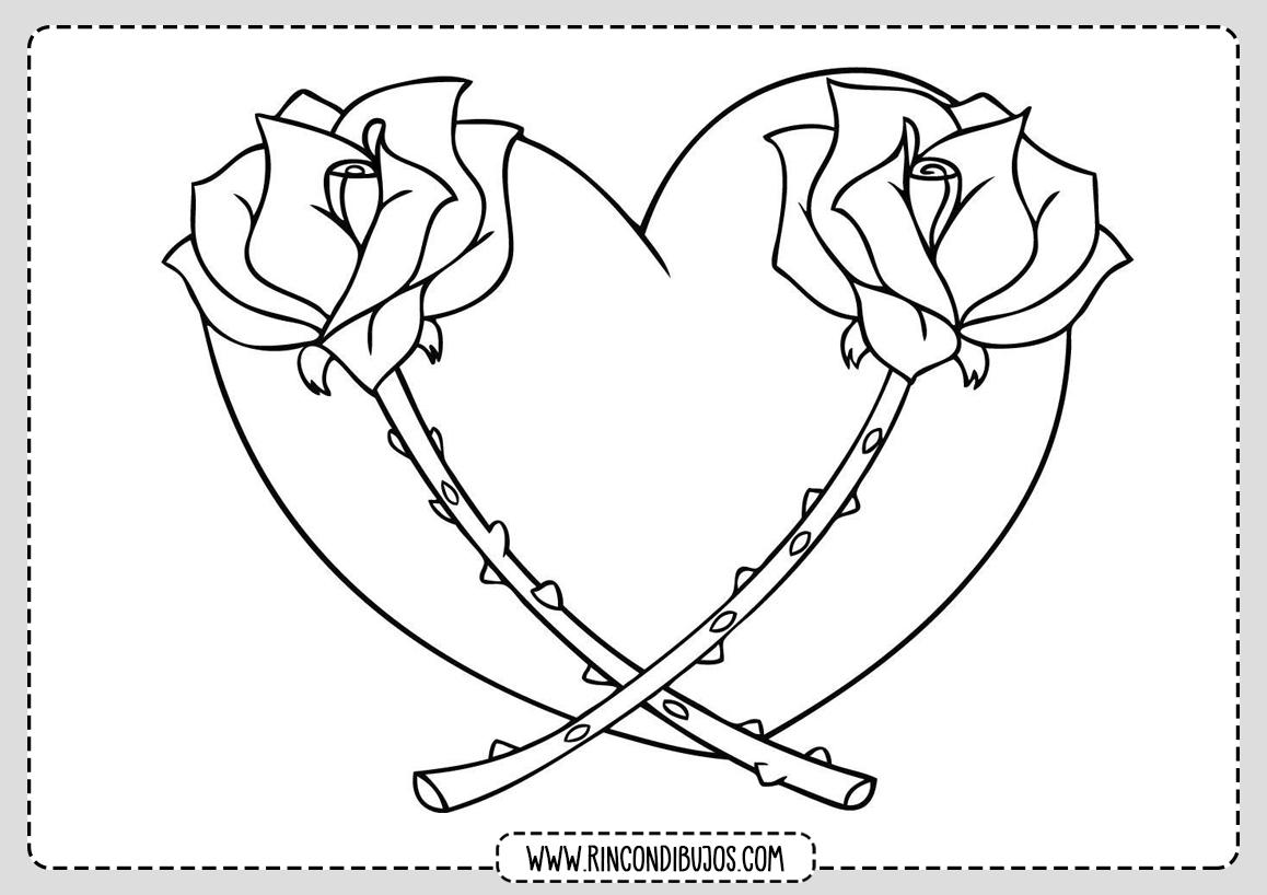 Dibujo Corazon con Flores Colorear