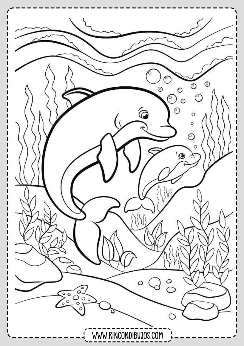 Dibujo Delfines en el Mar