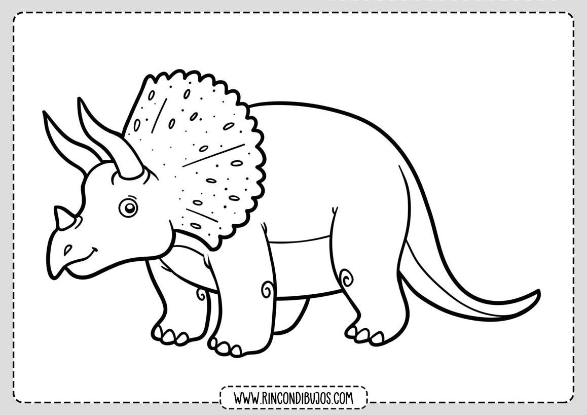 Dibujo Dinosaurios Triceratops Colorear