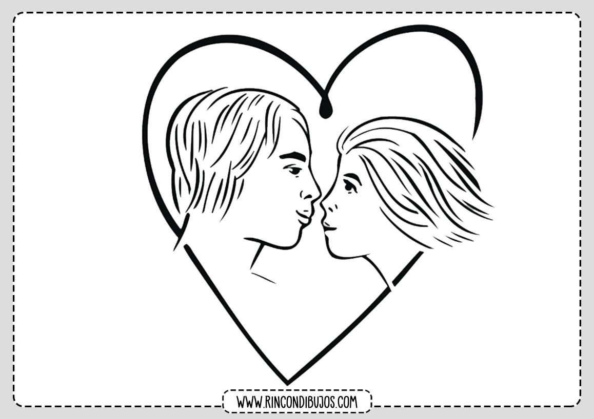 Dibujo Enamorados para Colorear