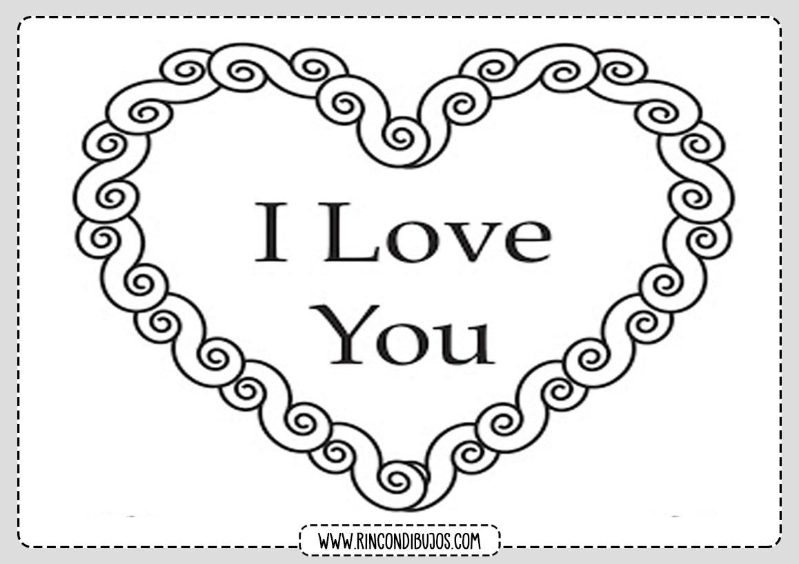 Dibujo I love You Colorerar