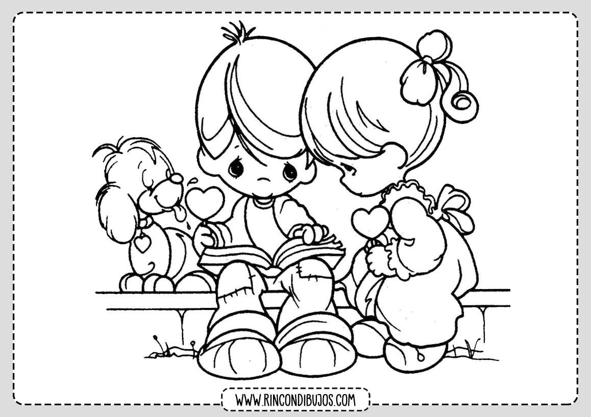 Dibujo Niños Enamorados Colroear