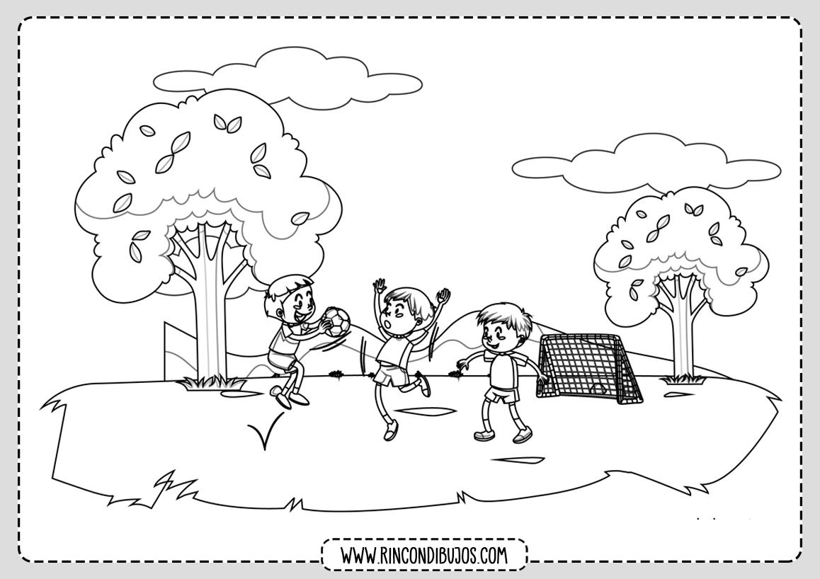 Dibujo Paisaje Niños Jugando Colorear