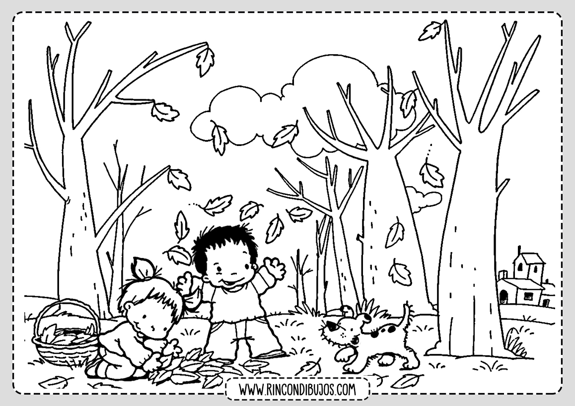 Dibujo Paisaje con Niños para colorear