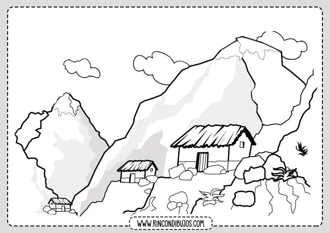 Dibujo Paisaje de Montañas para Colorear