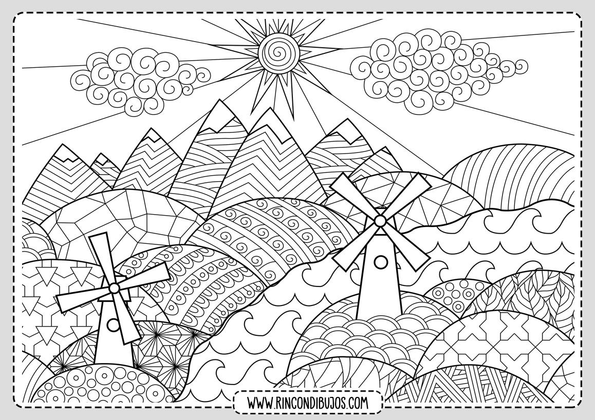 Dibujo Paisaje mandala Colorear