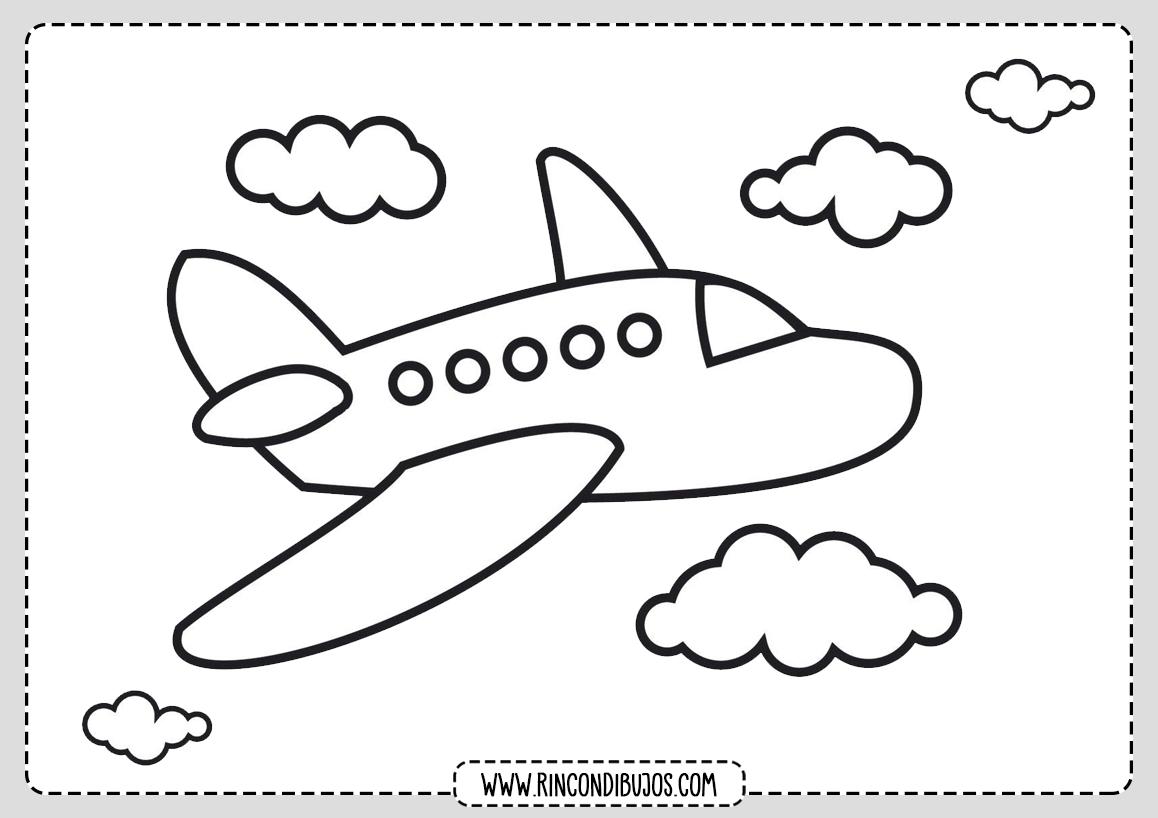 Dibujo de Avion para Colorear para Niños