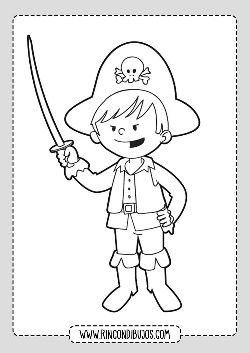 Dibujo de Niño Pirata Disfraz