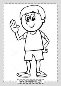 Dibujo de Niño Saludando