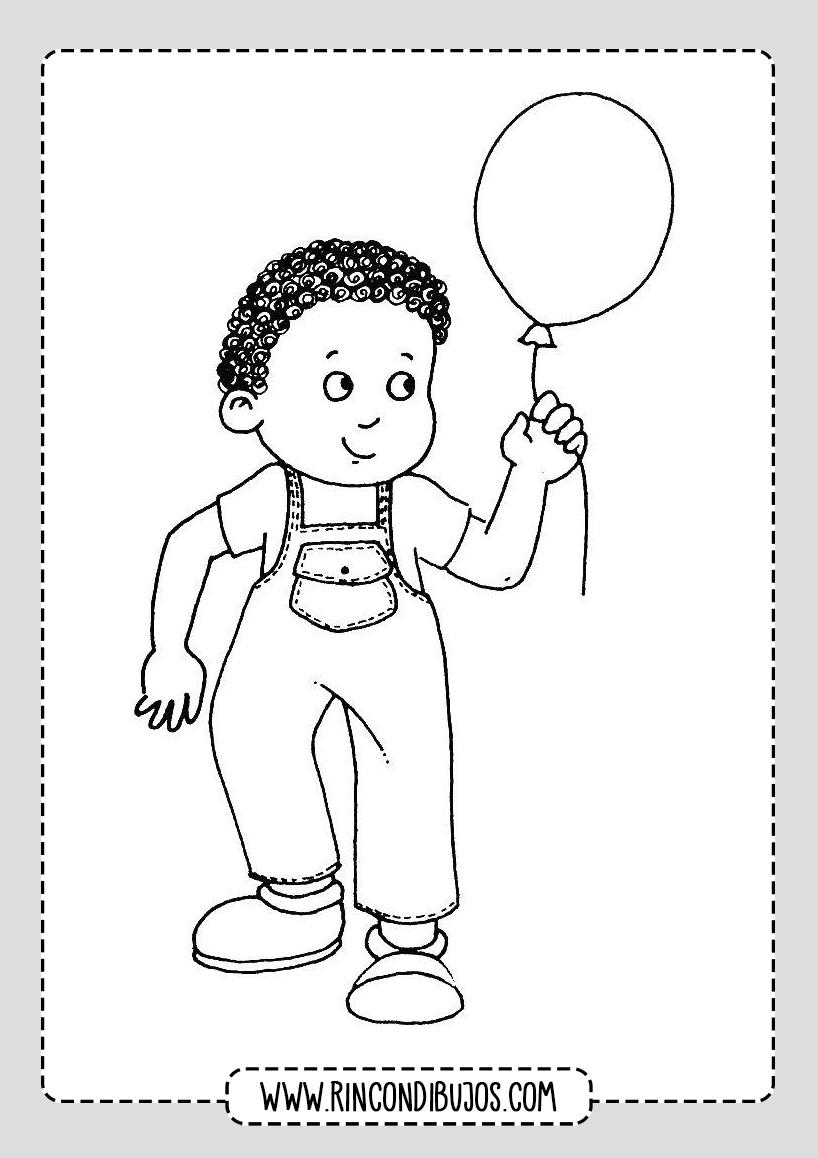 Dibujo de Niño con Globo