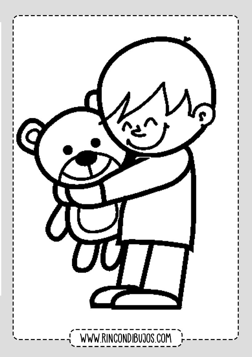 Dibujo de Niño con Osito de Peluche