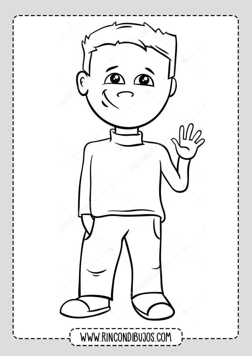 Dibujo de Niño diciendo Hola