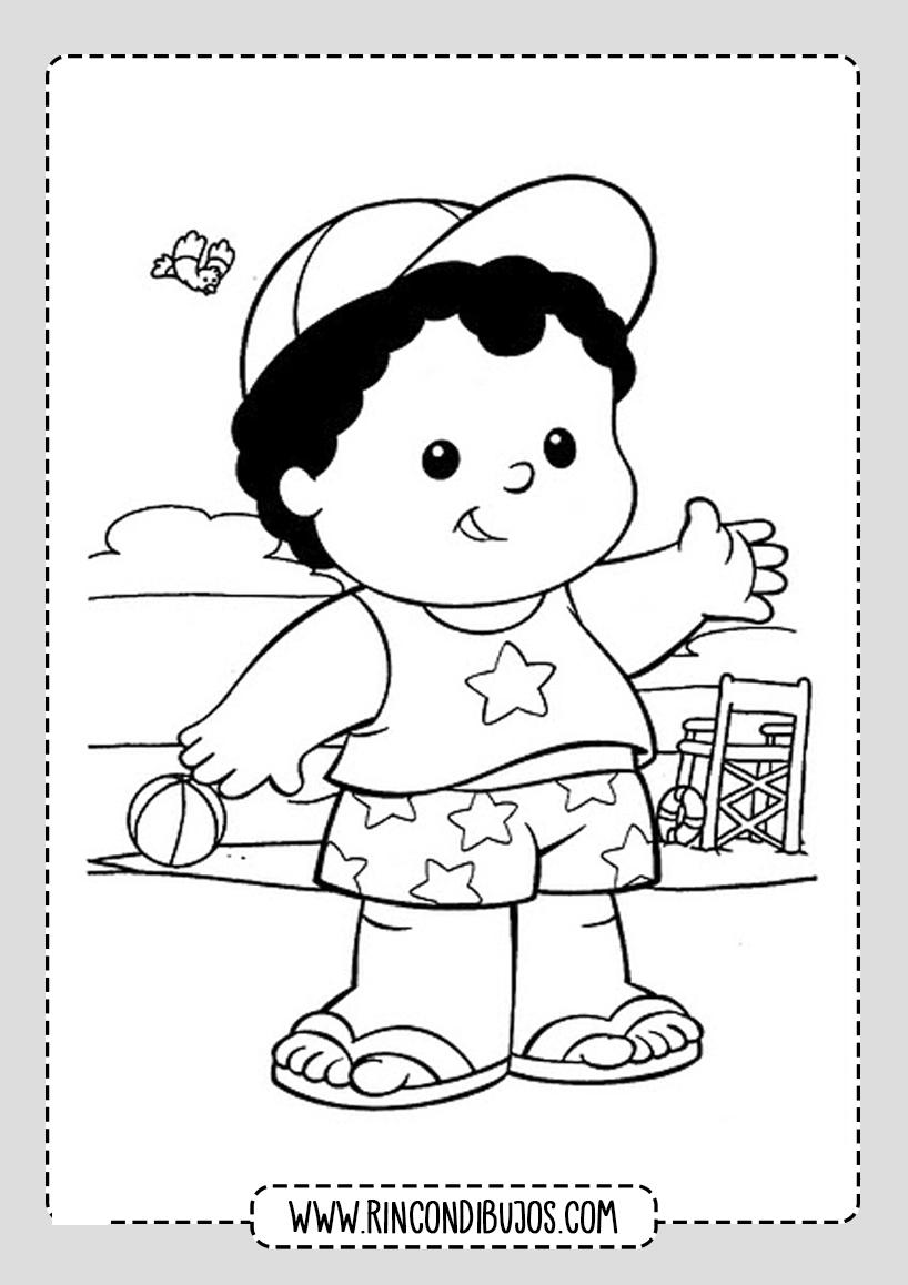 Dibujo de Niño en la Playa