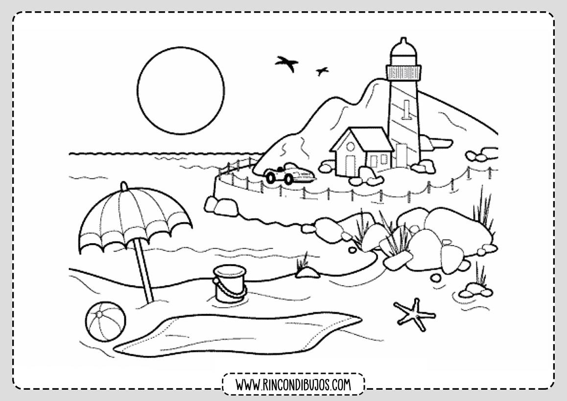 Dibujo de Paisaje Faro Playa para Colorear