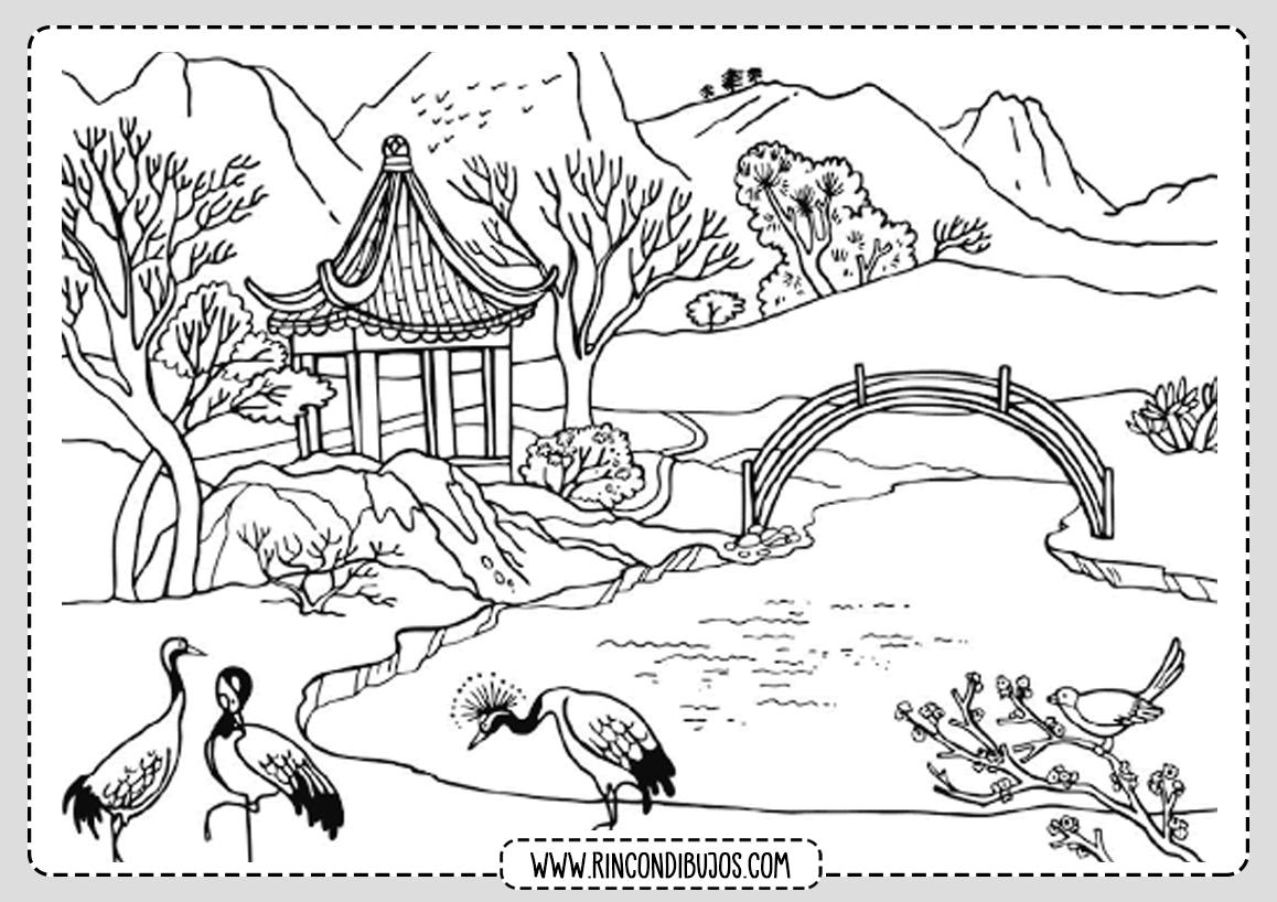 Dibujo de Paisaje Japones para Colorear