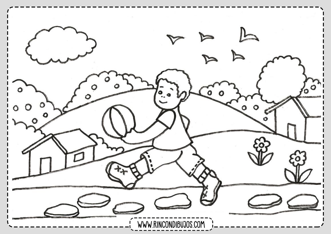 Dibujo de Paisaje con Niño Jugando para colorear