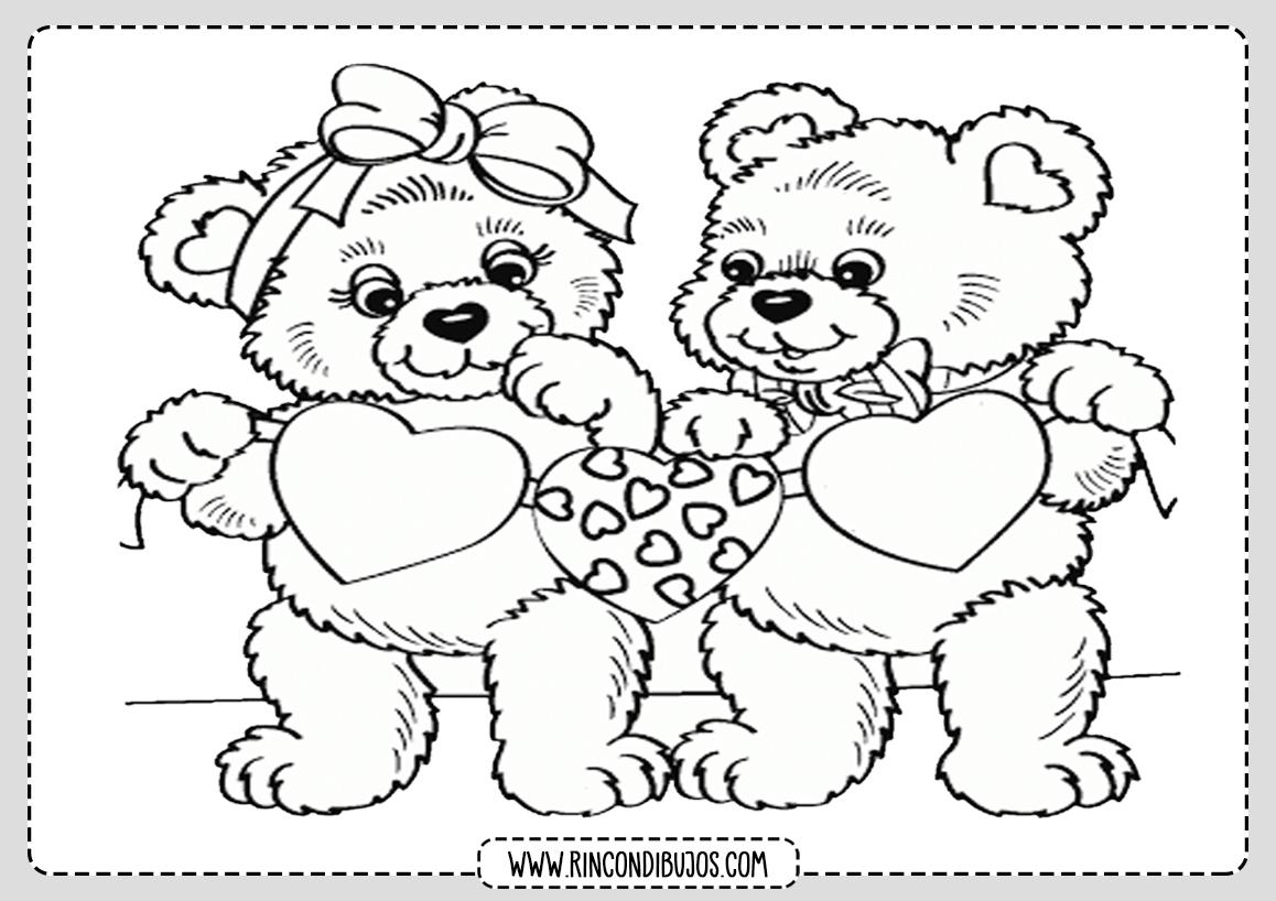 Dibujos de Amor Osos Enamorados Para Colorear