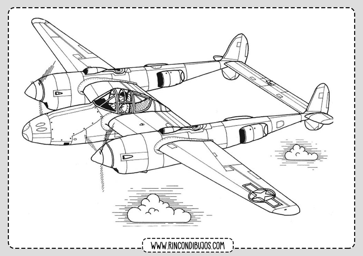 Dibujos de Aviones en el aire Colorear