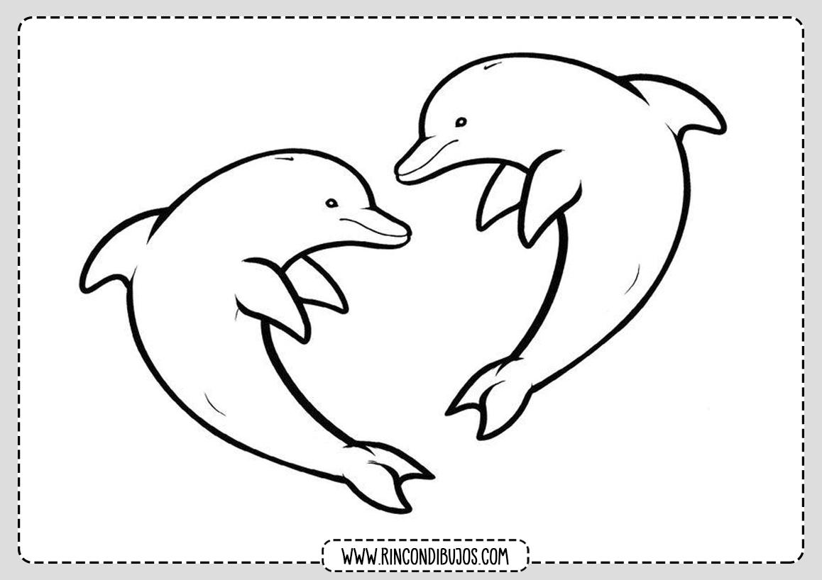 Dibujos de Delfines con forma de corazon