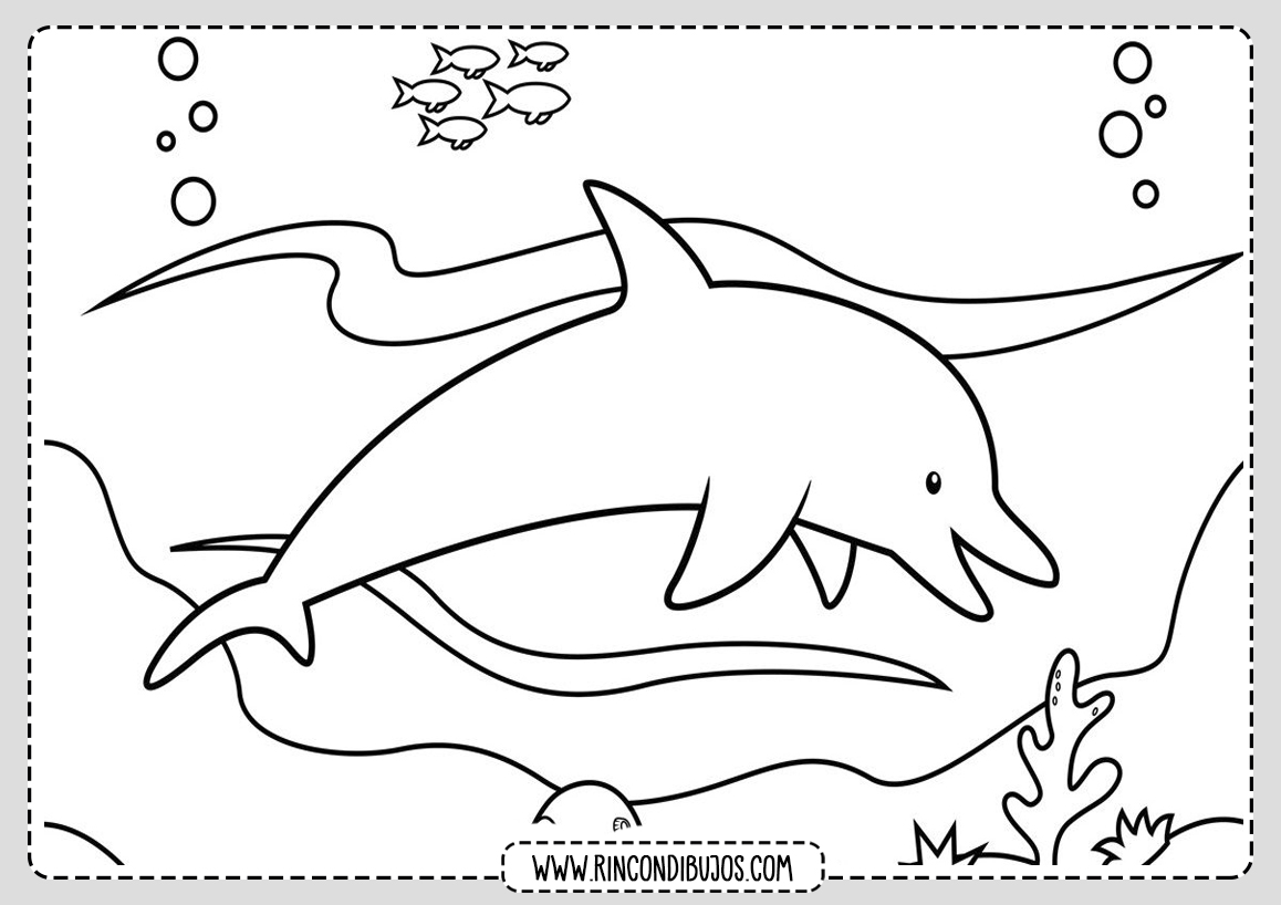 Dibujos de Delfines en el mar para colorear