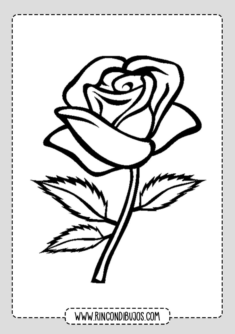 Dibujos de Flores Rosa para colorear