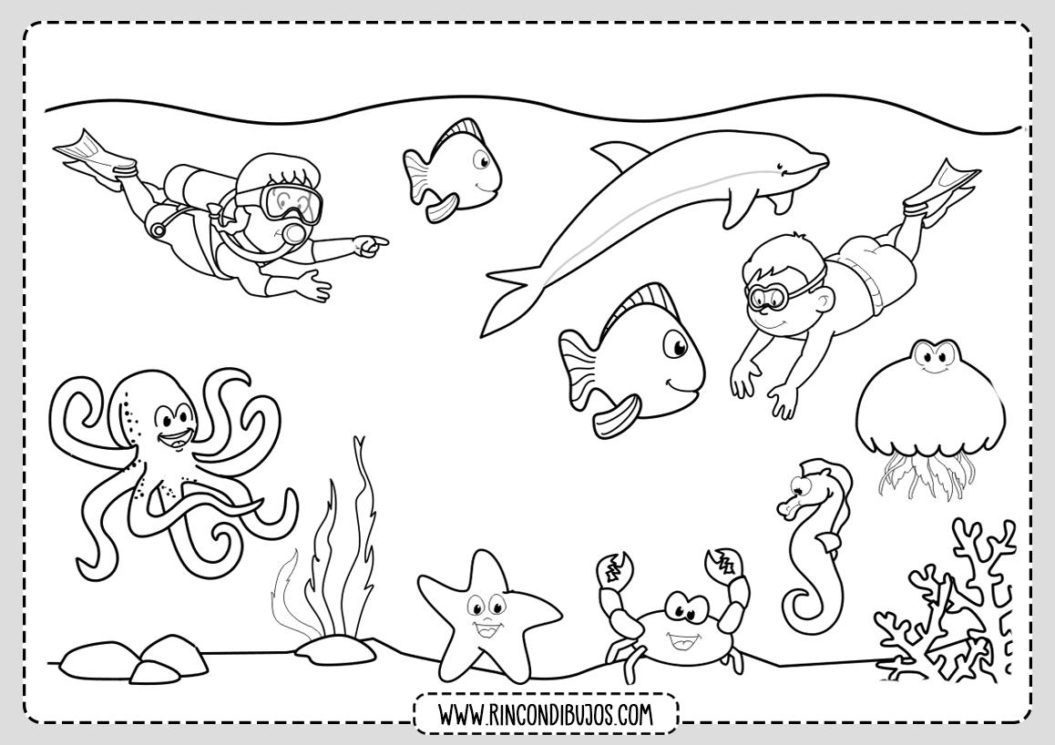 Dibujos del Mar Fondo Marino Colorear