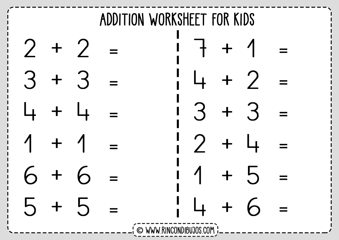 Free addition worksheet printable