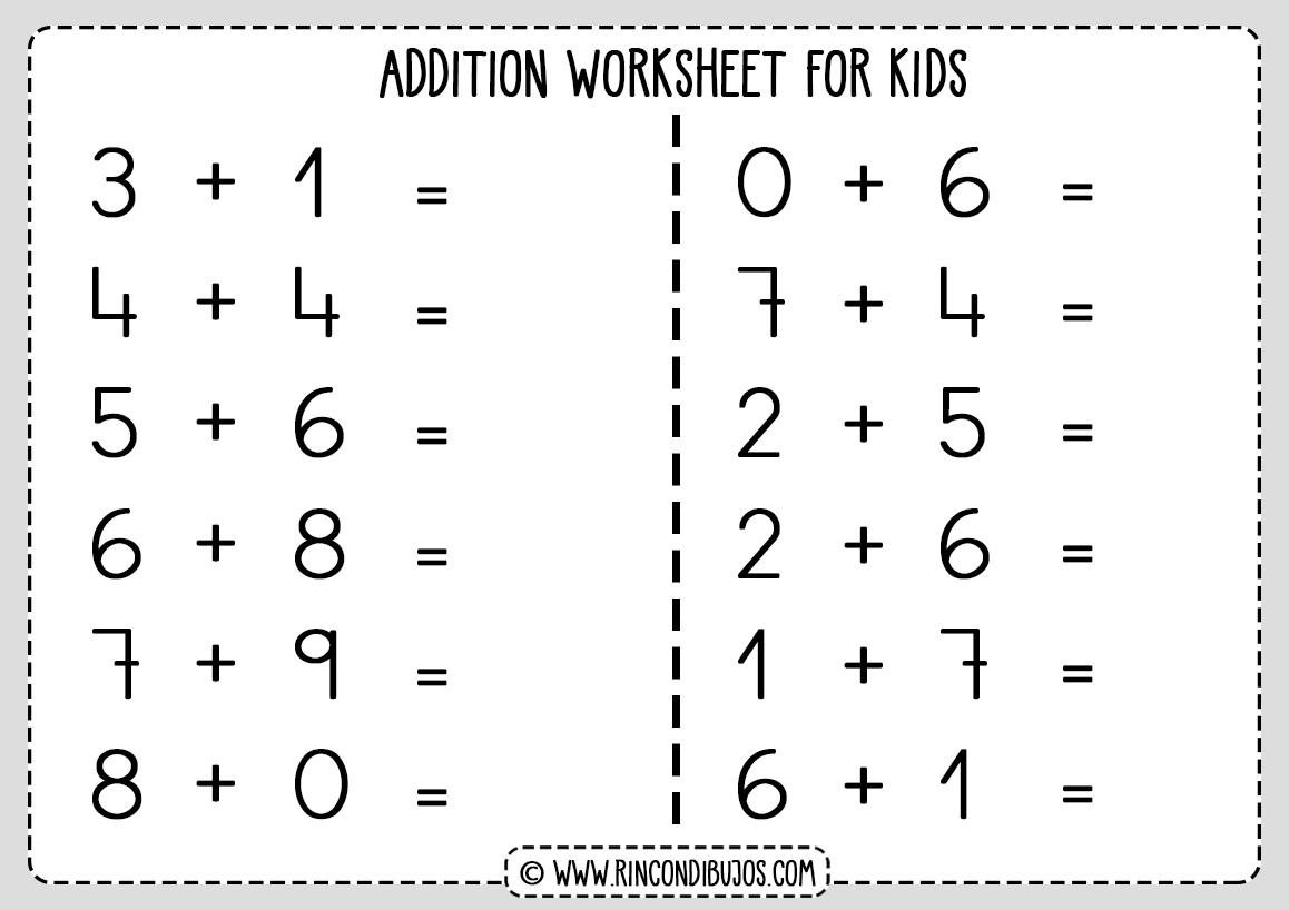 Free addition worksheets for kids