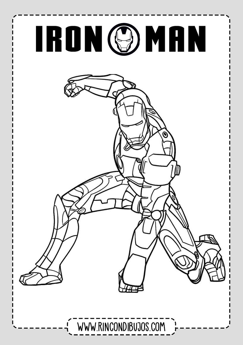 Iron Man Volando Dibujo Colorear