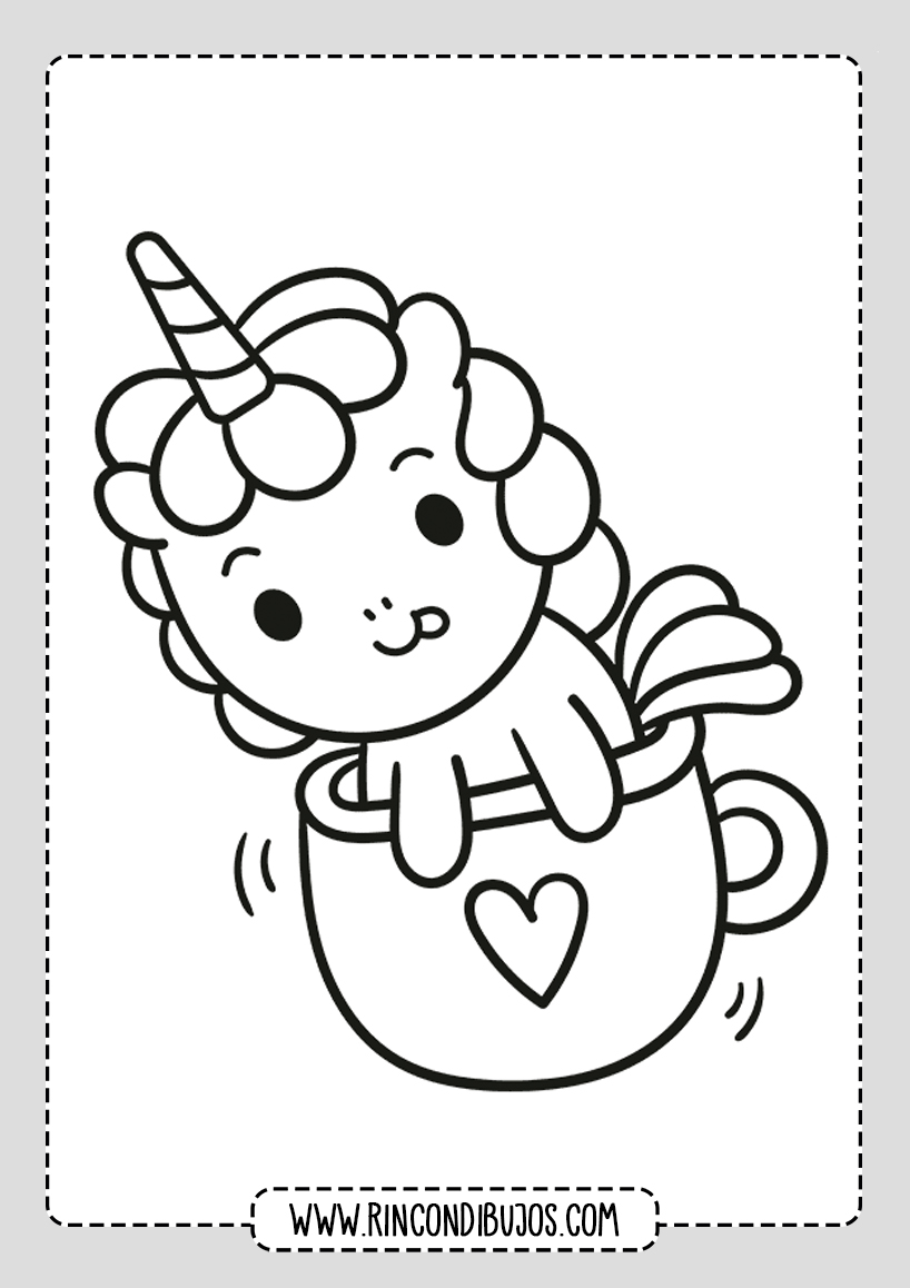 Kawaii Dibujos de Unicornios Colorear