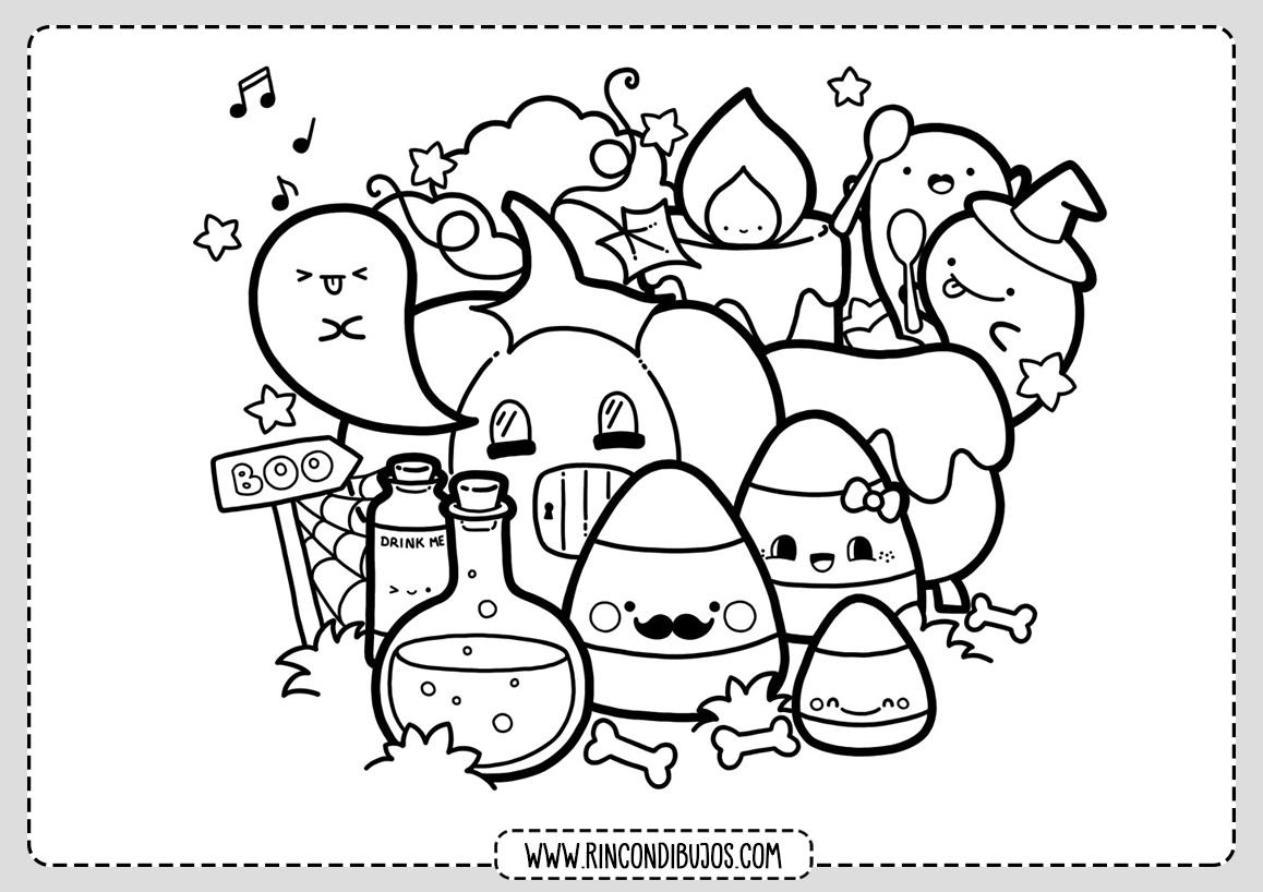 Dibujos Kawaii para colorear | Fichas Kawaii para Pintar
