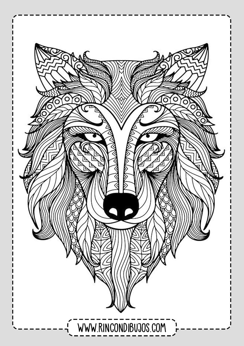 Mandalas de Animales Lobo para colorear