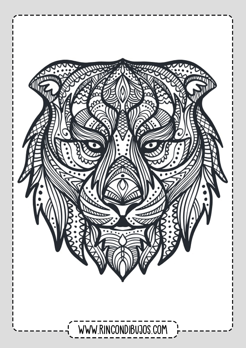 Mandalas de Animales Tigre para colorear