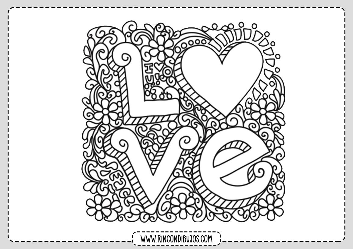 Palabra Love para Colorear