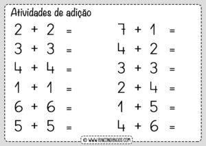 atividades de matematica adição 1 ano fundamental