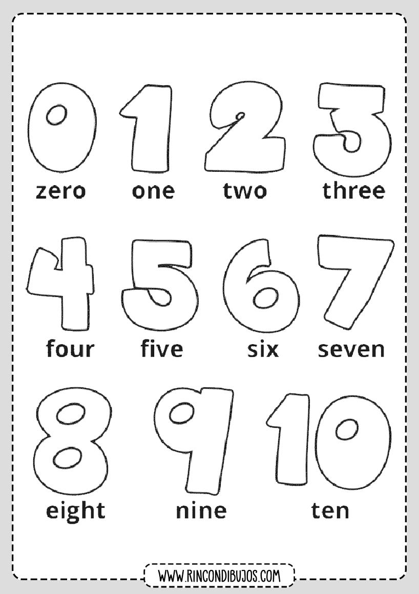 Colorear Numeros en Ingles
