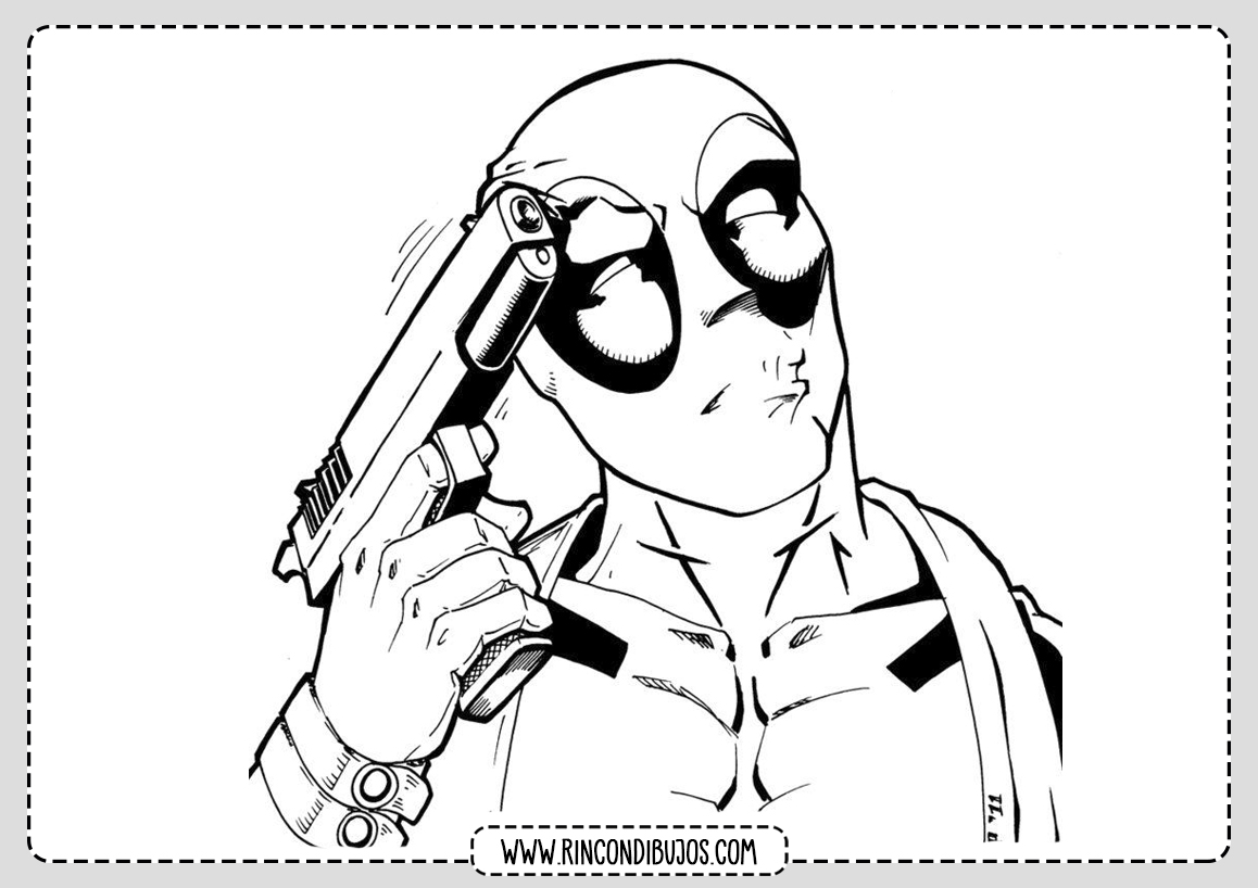 Deadpool con Pistola Dibujos para Colorear