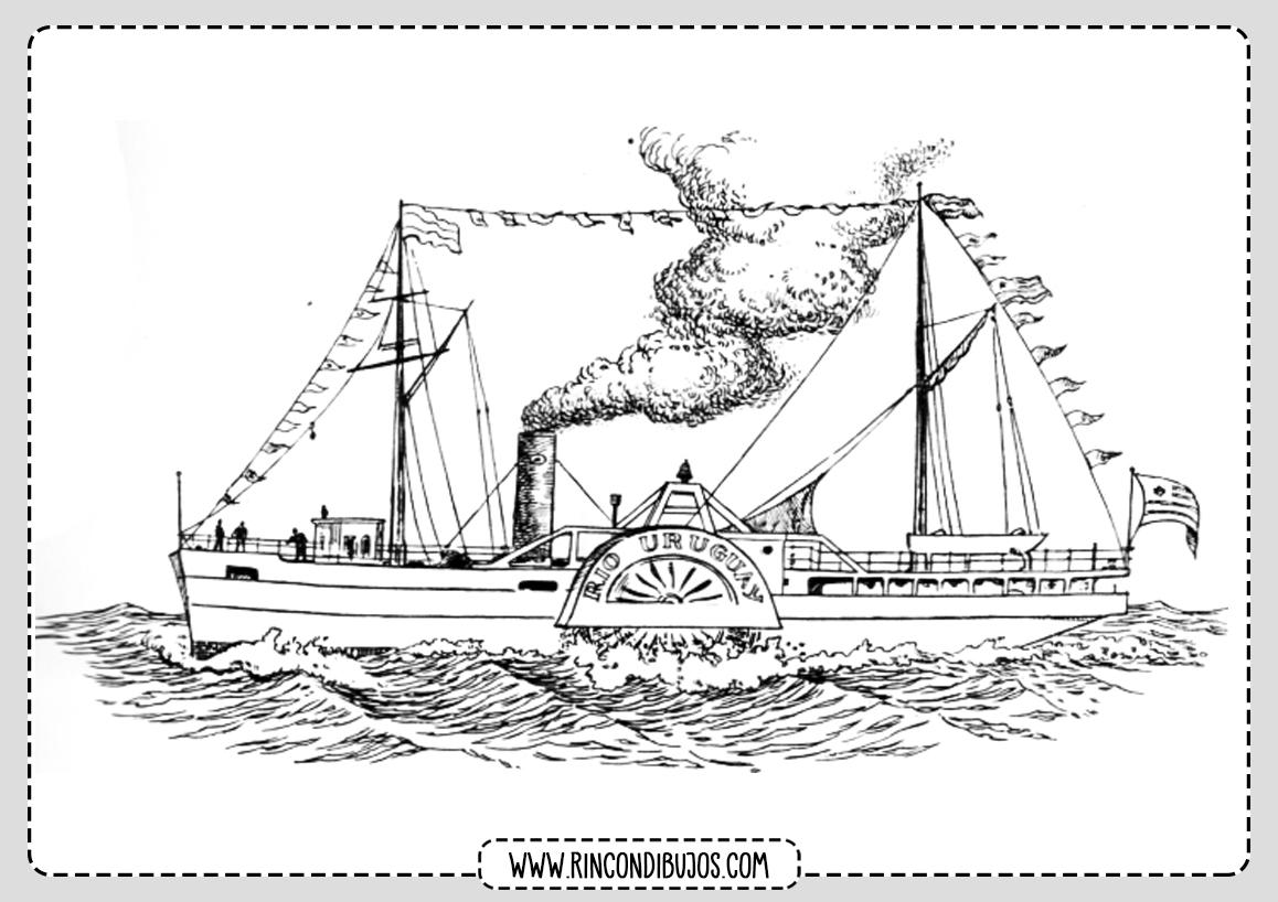 Dibujo Barco de Vapor Colorear
