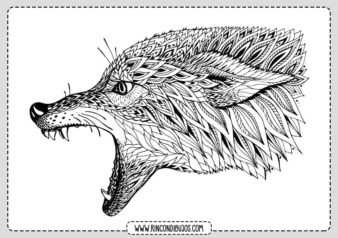 Dibujo Mandala Lobo Colorear
