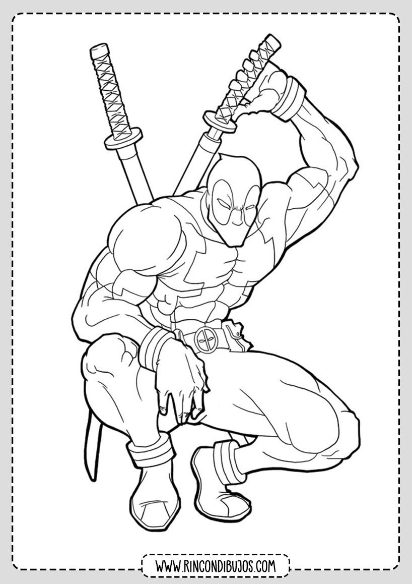 Dibujos Deadpool gratis para colorear