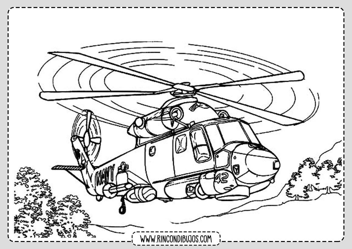 Dibujos de Helicopteros Volando para Colorear
