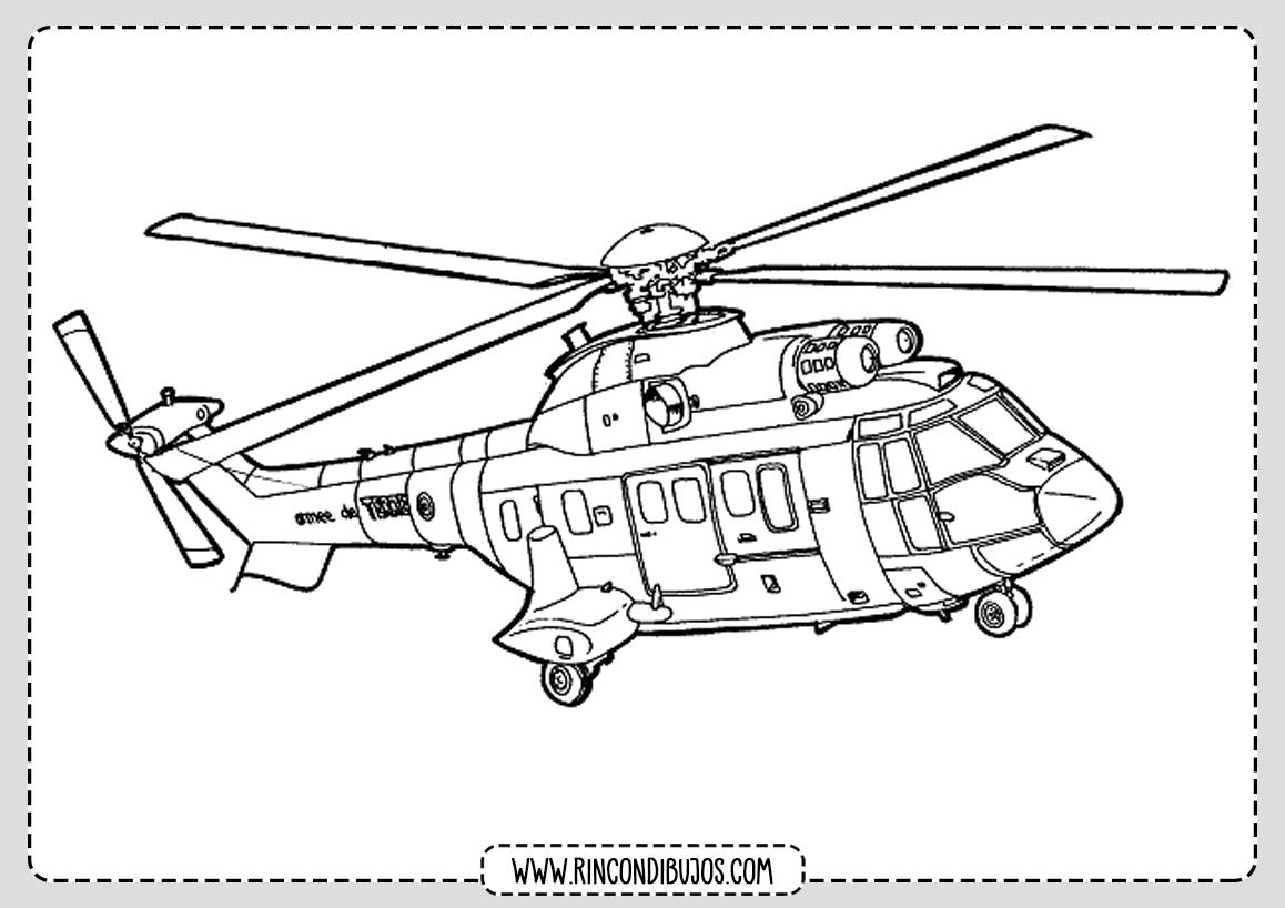 Dibujos de Helicopteros para Imprimri y Colorear