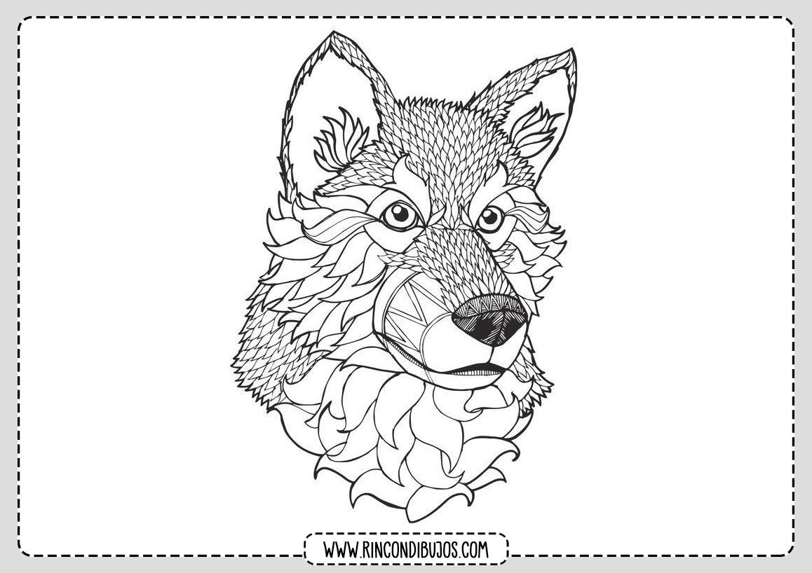 Imprimir Colorear Dibujo de Lobo