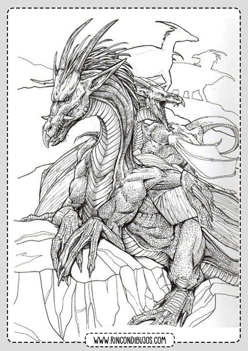 Laminas con Dibujos de Dragones para Colorear