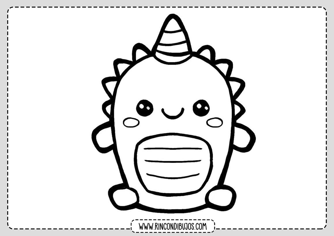 Dibujo Dragon Kawaii Colorear